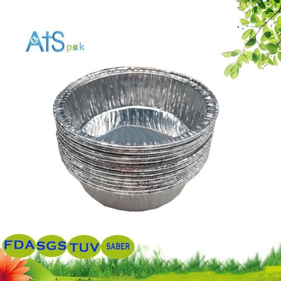 Disposable round aluminum foil container