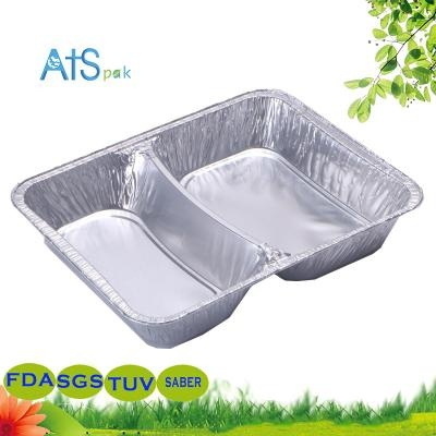 2 compartment divided aluminum foil container